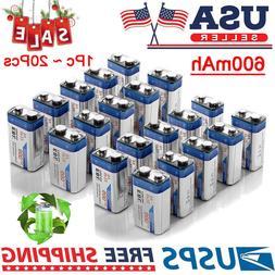 EBL Lot of 600mAh 9V Volt 6F22 Li-ion Rechargeable Batteries