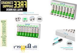 Mr.Batt Battery charger + 8 Rechargeable Batteries NiMH AAA