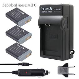 ARCHE NB-13L NB13L <3 Pack> Battery and Rapid Charger Kit fo