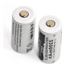 NEW 2pcs 3.7v 2200mAh CR123A <font><b>rechargeable</b></font