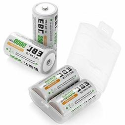 EBL C Cell Batteries 4-Pack 5,000mAh High Energy Rechargeabl