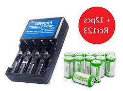 Ppower Pbe 12 packs of 700mAh 3.7v Cr123a Rechargeable Batte