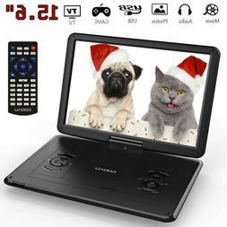 "Portable 15.6"" DVD CD TV Player HD LCD Widescreen Built-in R"