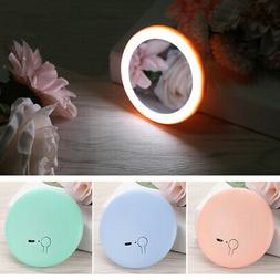 Portable Mini Rechargeable Round HD Makeup Cosmetic Mirror w