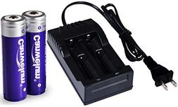 Canwelum Protected 3.7V 18650 Li-ion Battery and Charger, 3m