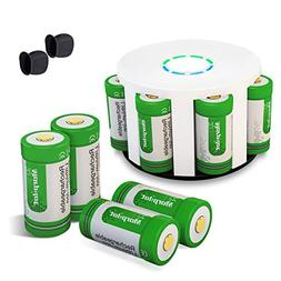 Morpilot RCR123A Rechargeable Batteries and Charger 8Pcs 3.7