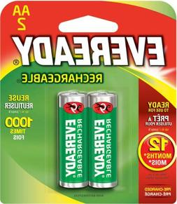Eveready RE15BP-2 Rechargeable - AA NiMH Batteries, 2000 mAh