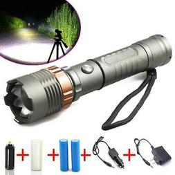 Rechargeable 100000LM LED Flashlight Torch + 2x 18650 Batter