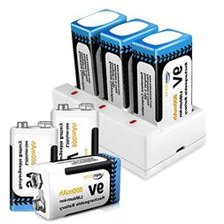 9V Rechargeable Batteries 800mAh 6 Pack with Keenstone 9 Vol