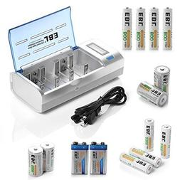 EBL Rechargeable Batteries Family Combo with Charger