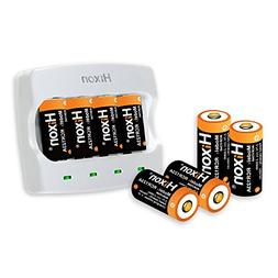 RCR123A Rechargeable Batteries and Charger, Hixon 3.7V 700mA