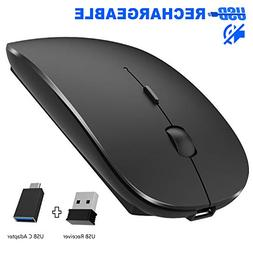 Rechargeable Wireless Mouse, Pasonomi 2.4G Slim Mute Silent