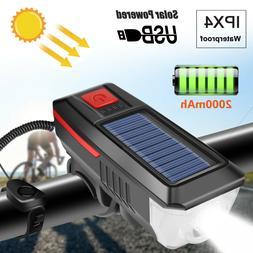 Solar Powered USB Rechargeable LED Bicycle Headlight Bike He