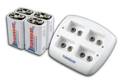 Tenergy TN136 4 Bay 9V Smart Charger with 4 pieces Tenergy P