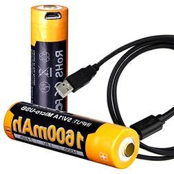 Two Pack: Fenix ARB-L14-1600U USB Rechargeable 1.5V 1600mAh