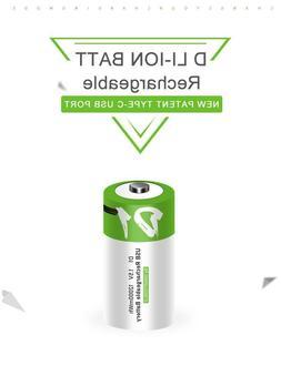 Type C Usb Li-ion Rechargeable D Battery 6500mAh 1.5v 1200 c