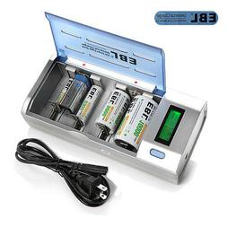 EBL Universal LCD Battery Charger Rechargeable AA/AAA C D 9V