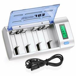 EBL Universal Smart LCD Charger For 9V AA AAA C D Ni-MH/Cd R