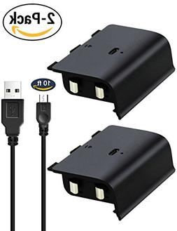 2Pcs Pack Rechargeable Battery Pack with 10ft Charging Cable